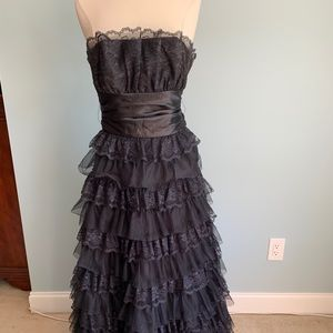 Strapless Black Lace Dress